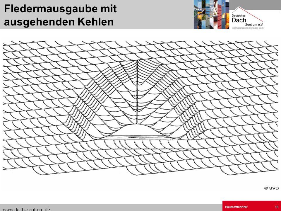 www.dach-zentrum.de Baustofftechnik18 Fledermausgaube mit ausgehenden Kehlen