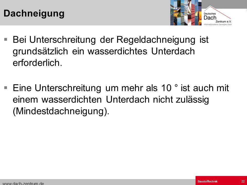 www.dach-zentrum.de Baustofftechnik22 Bei Unterschreitung der Regeldachneigung ist grundsätzlich ein wasserdichtes Unterdach erforderlich. Eine Unters