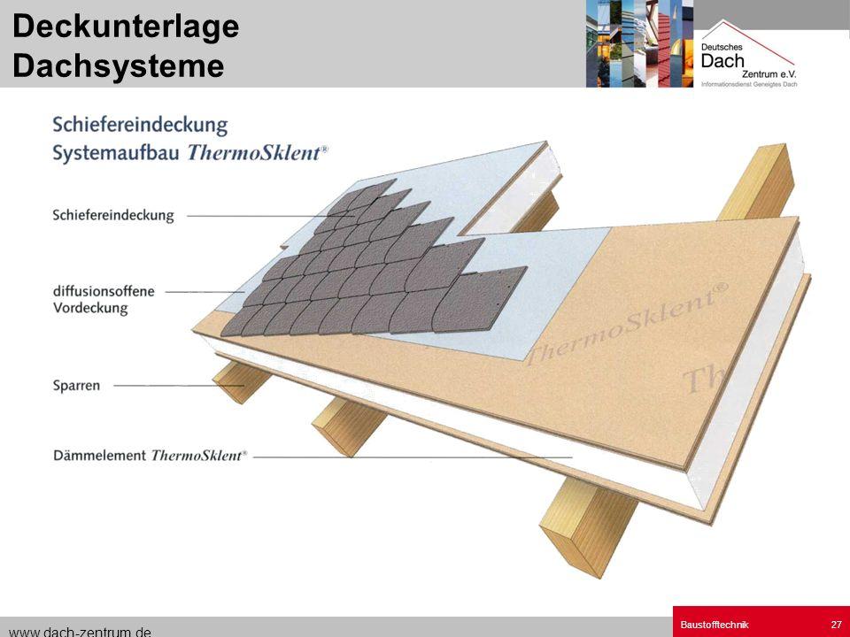 www.dach-zentrum.de Baustofftechnik27 Deckunterlage Dachsysteme