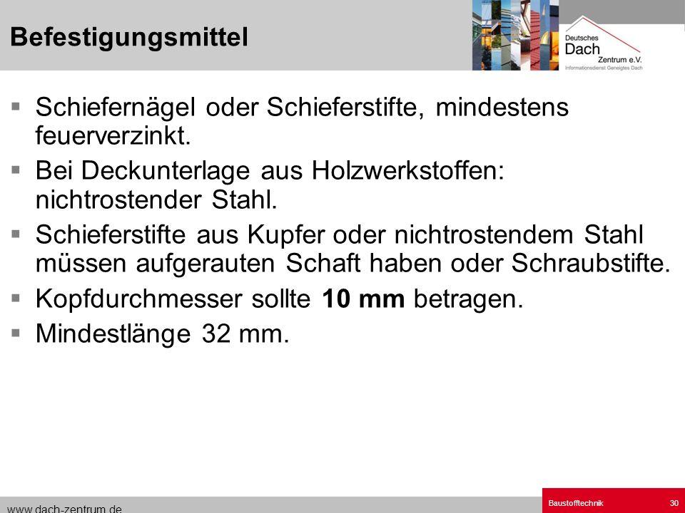www.dach-zentrum.de Baustofftechnik30 Schiefernägel oder Schieferstifte, mindestens feuerverzinkt. Bei Deckunterlage aus Holzwerkstoffen: nichtrostend