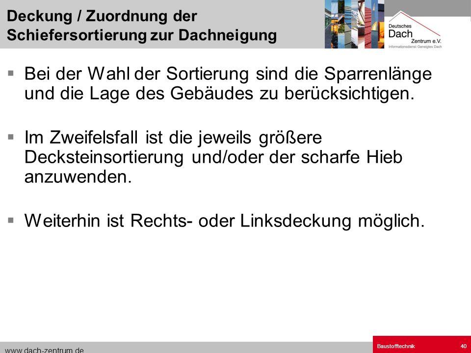 www.dach-zentrum.de Baustofftechnik40 Bei der Wahl der Sortierung sind die Sparrenlänge und die Lage des Gebäudes zu berücksichtigen. Im Zweifelsfall