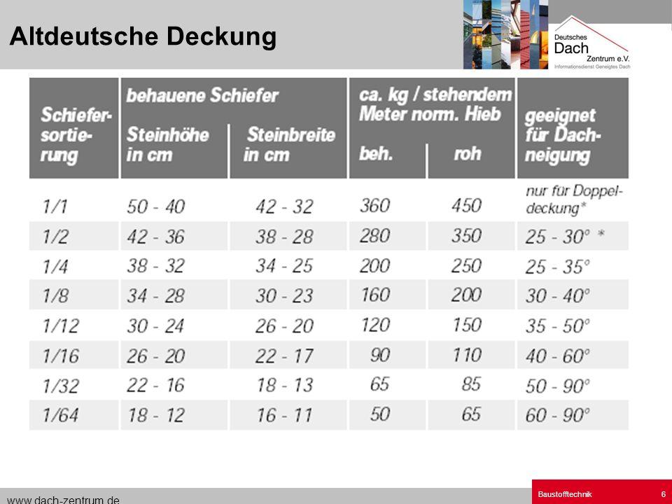 www.dach-zentrum.de Baustofftechnik6 Altdeutsche Deckung