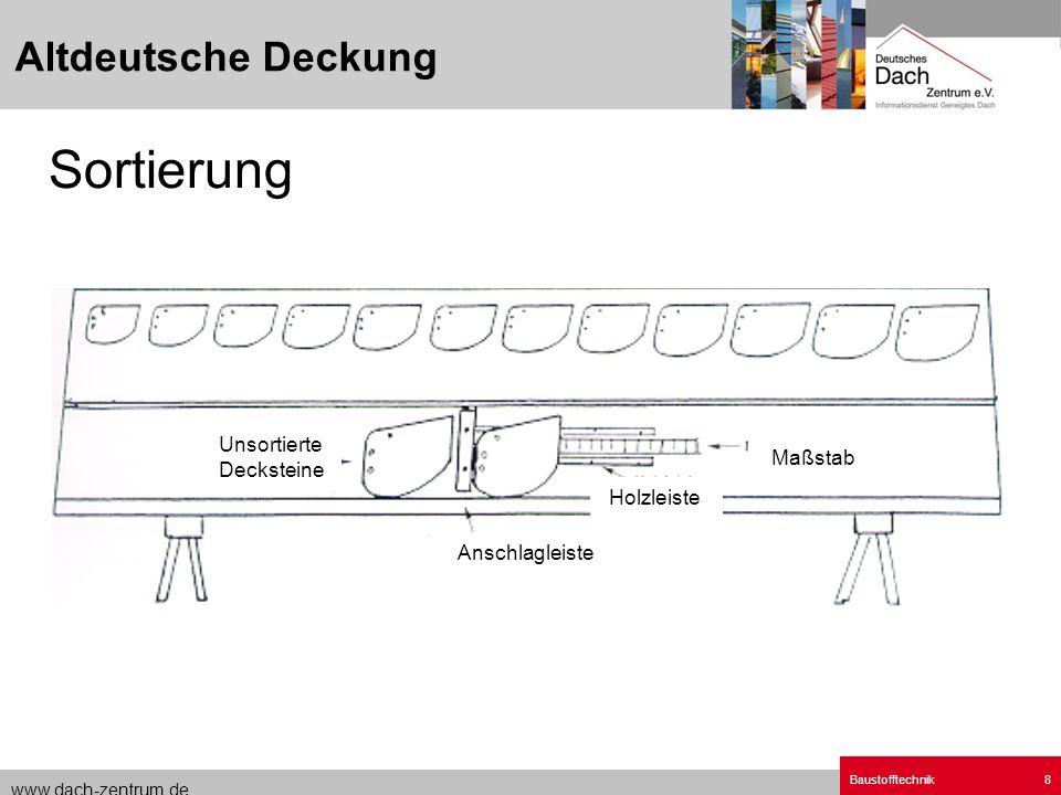 www.dach-zentrum.de Baustofftechnik8 Altdeutsche Deckung Sortierung Maßstab Anschlagleiste Unsortierte Decksteine Holzleiste