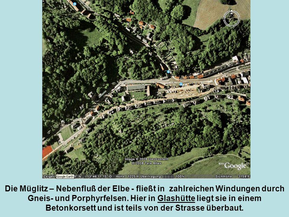 Die Müglitz – Nebenfluß der Elbe - fließt in zahlreichen Windungen durch Gneis- und Porphyrfelsen.