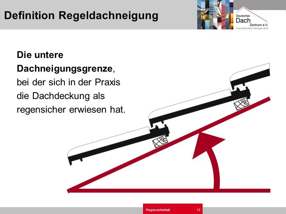 Regensicherheit13 Definition Regeldachneigung Die untere Dachneigungsgrenze, bei der sich in der Praxis die Dachdeckung als regensicher erwiesen hat.