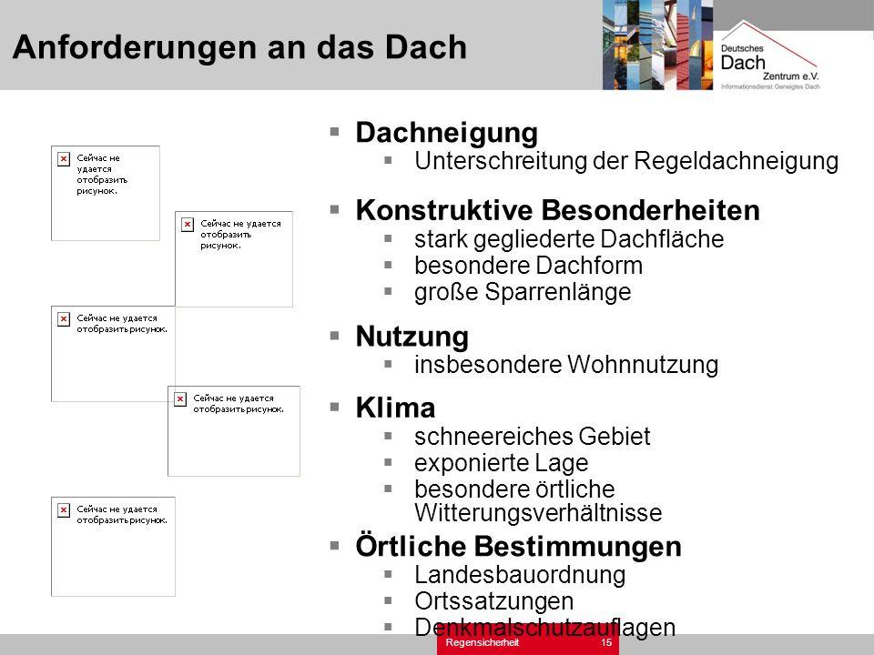 Regensicherheit15 Anforderungen an das Dach Dachneigung Unterschreitung der Regeldachneigung Örtliche Bestimmungen Landesbauordnung Ortssatzungen Denk