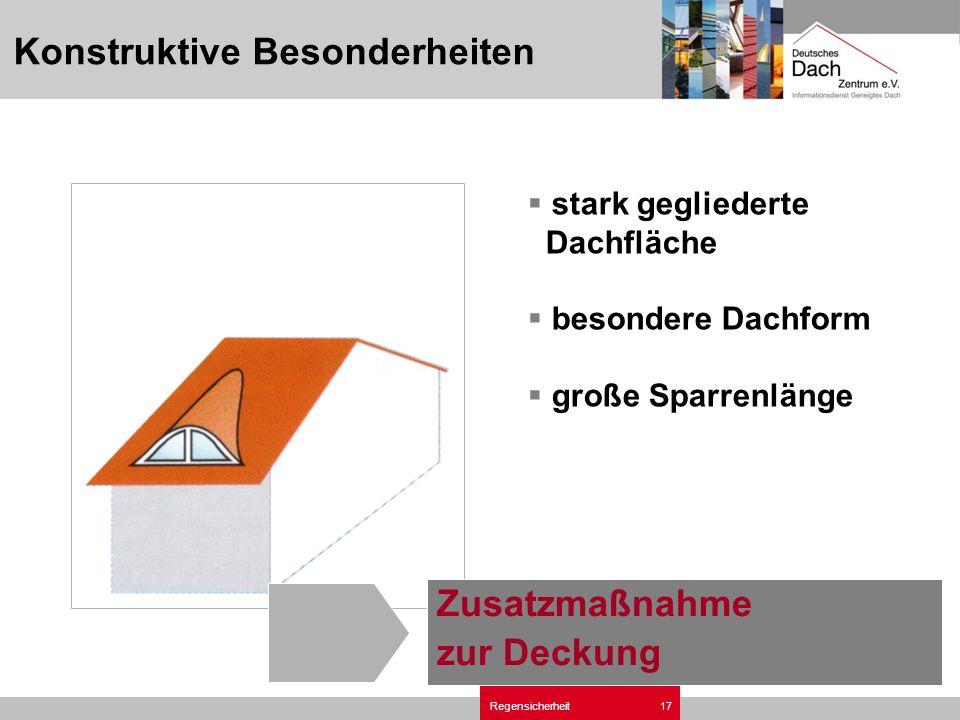 Regensicherheit17 stark gegliederte Dachfläche besondere Dachform große Sparrenlänge Zusatzmaßnahme zur Deckung Konstruktive Besonderheiten