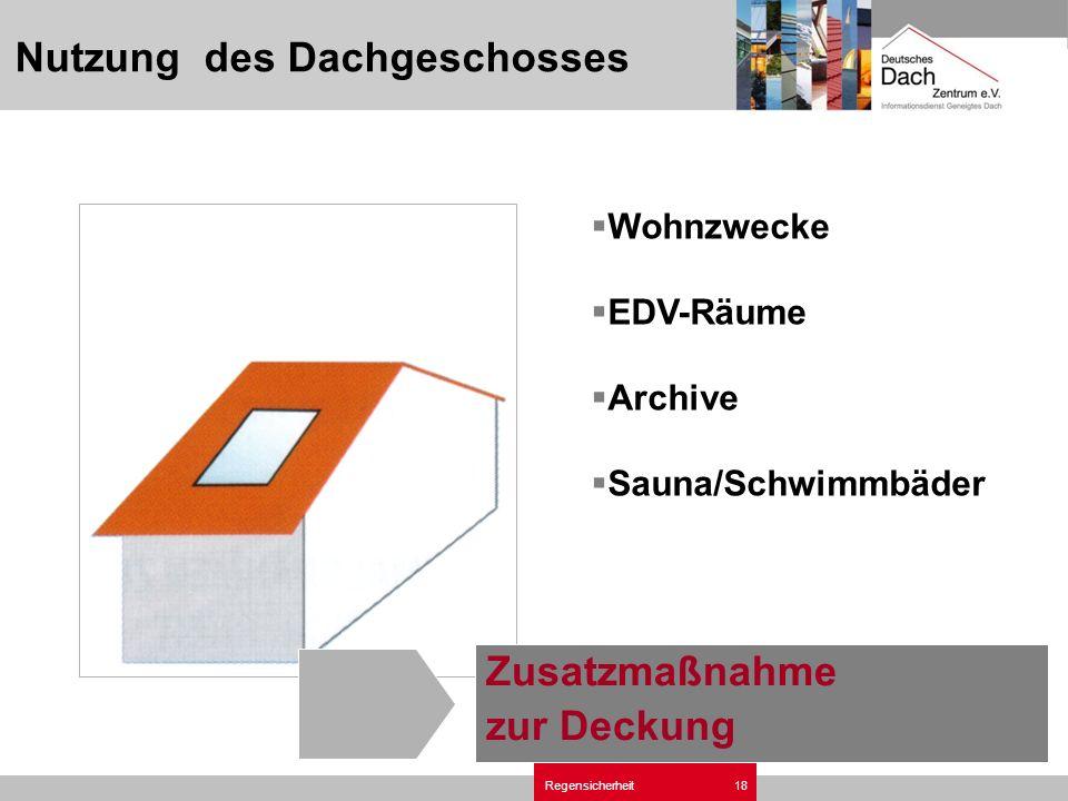 Regensicherheit18 Wohnzwecke EDV-Räume Archive Sauna/Schwimmbäder Nutzung des Dachgeschosses Zusatzmaßnahme zur Deckung