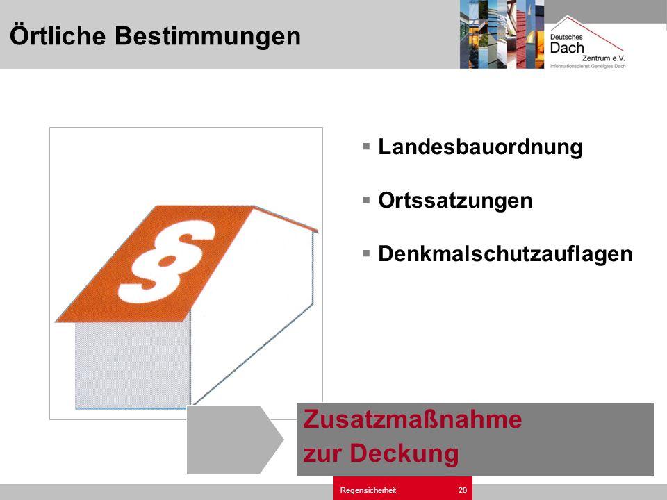 Regensicherheit20 Örtliche Bestimmungen Zusatzmaßnahme zur Deckung Landesbauordnung Ortssatzungen Denkmalschutzauflagen