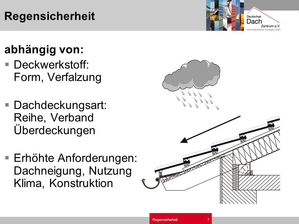 Regensicherheit7 abhängig von: Deckwerkstoff: Form, Verfalzung Dachdeckungsart: Reihe, Verband Überdeckungen Erhöhte Anforderungen: Dachneigung, Nutzung Klima, Konstruktion