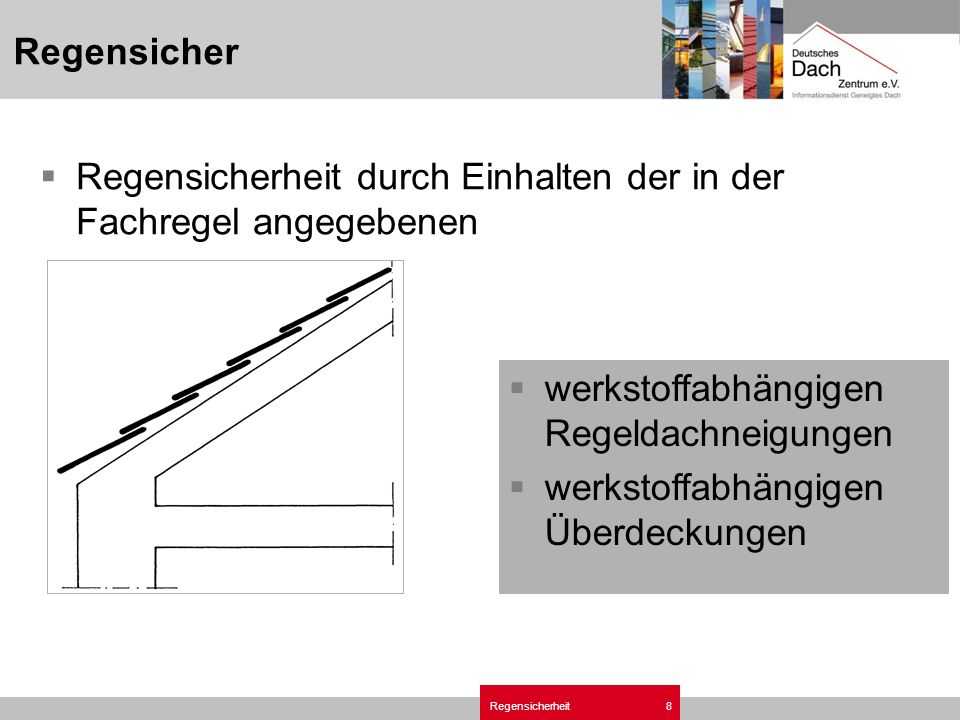 Regensicherheit8 Regensicher Regensicherheit durch Einhalten der in der Fachregel angegebenen werkstoffabhängigen Regeldachneigungen werkstoffabhängigen Überdeckungen