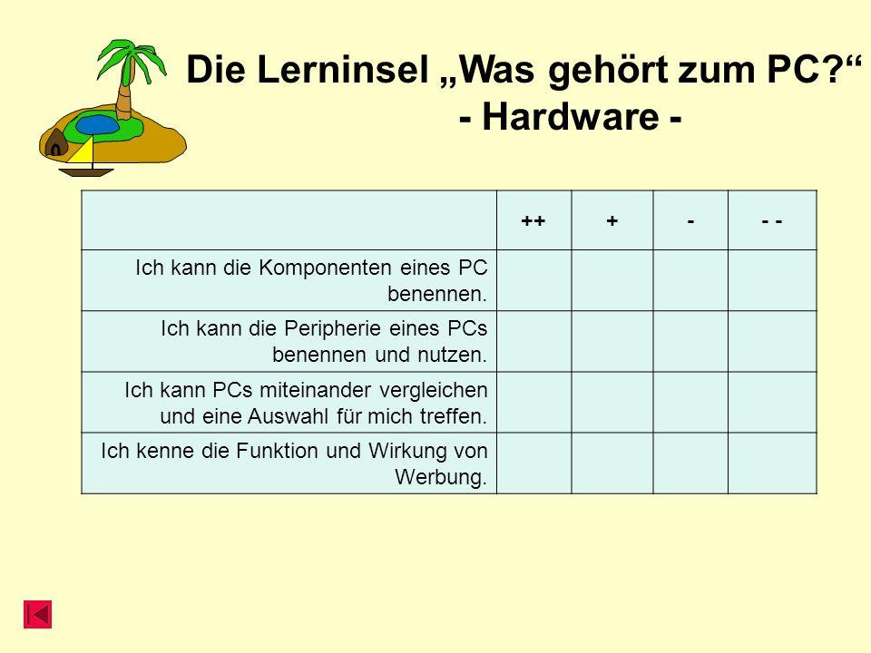 Die Lerninsel Was gehört zum PC? - Hardware - +++-- Ich kann die Komponenten eines PC benennen. Ich kann die Peripherie eines PCs benennen und nutzen.