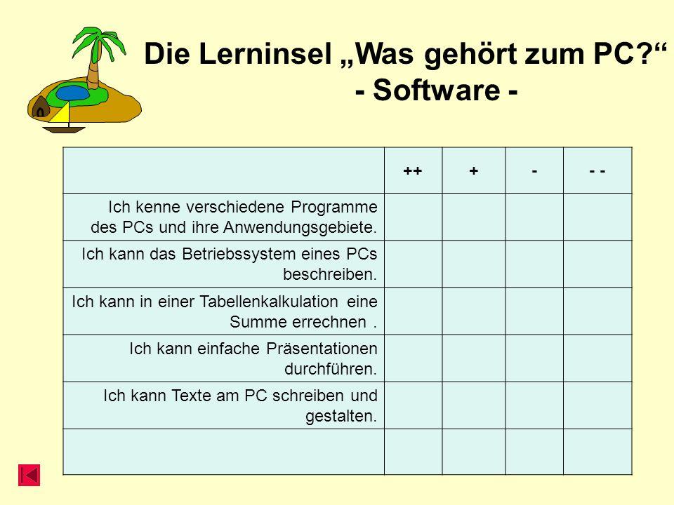 Die Lerninsel Was gehört zum PC? - Software - +++-- Ich kenne verschiedene Programme des PCs und ihre Anwendungsgebiete. Ich kann das Betriebssystem e