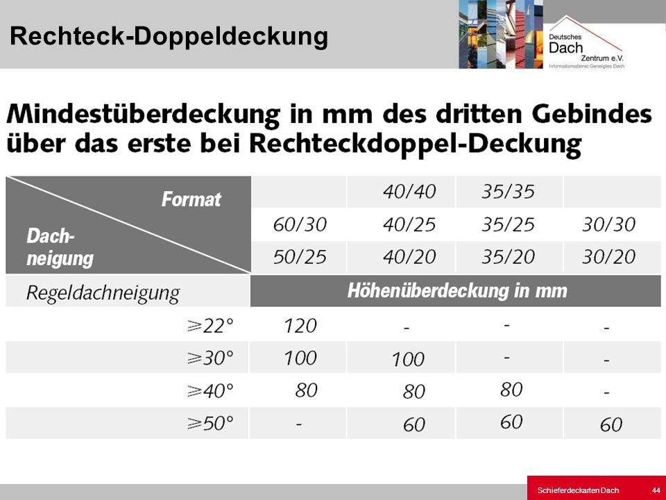 Schieferdeckarten Dach 44 Rechteck-Doppeldeckung