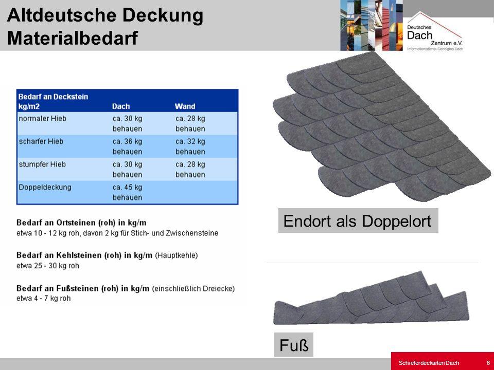 Schieferdeckarten Dach 6 Fuß Endort als Doppelort Altdeutsche Deckung Materialbedarf