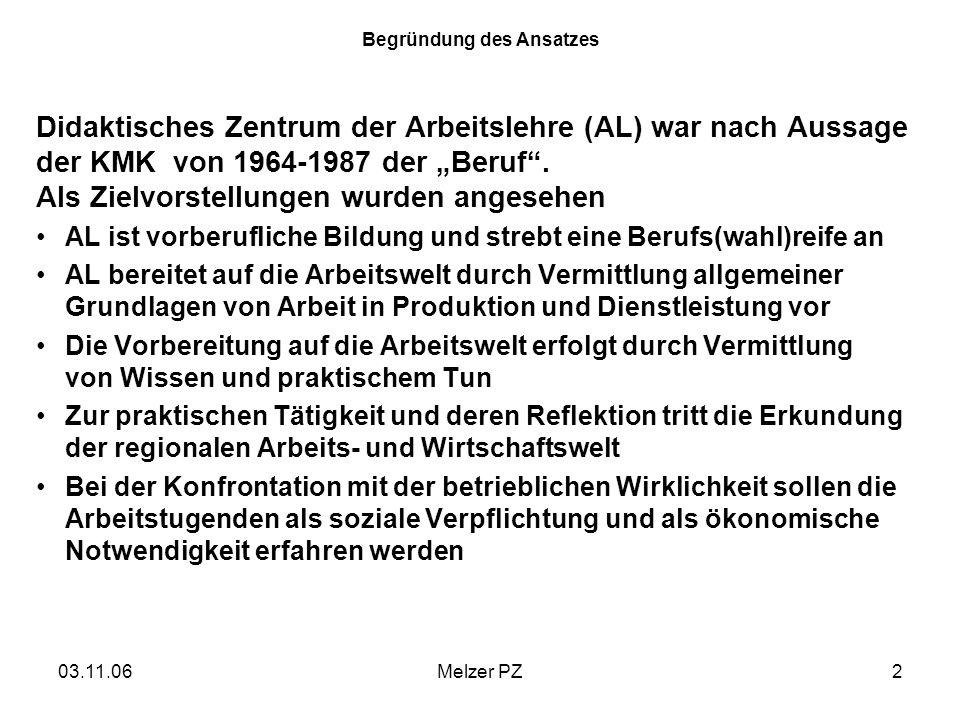 03.11.06Melzer PZ2 Begründung des Ansatzes Didaktisches Zentrum der Arbeitslehre (AL) war nach Aussage der KMK von 1964-1987 der Beruf. Als Zielvorste