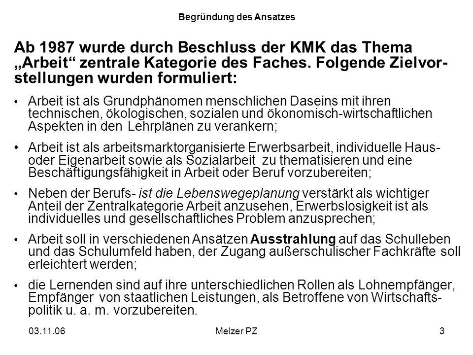 03.11.06Melzer PZ3 Begründung des Ansatzes Ab 1987 wurde durch Beschluss der KMK das Thema Arbeit zentrale Kategorie des Faches. Folgende Zielvor- ste