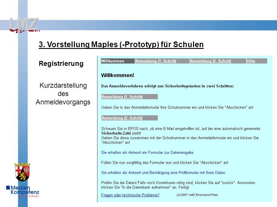 3. Vorstellung Maples (-Prototyp) für Schulen Registrierung Kurzdarstellung des Anmeldevorgangs