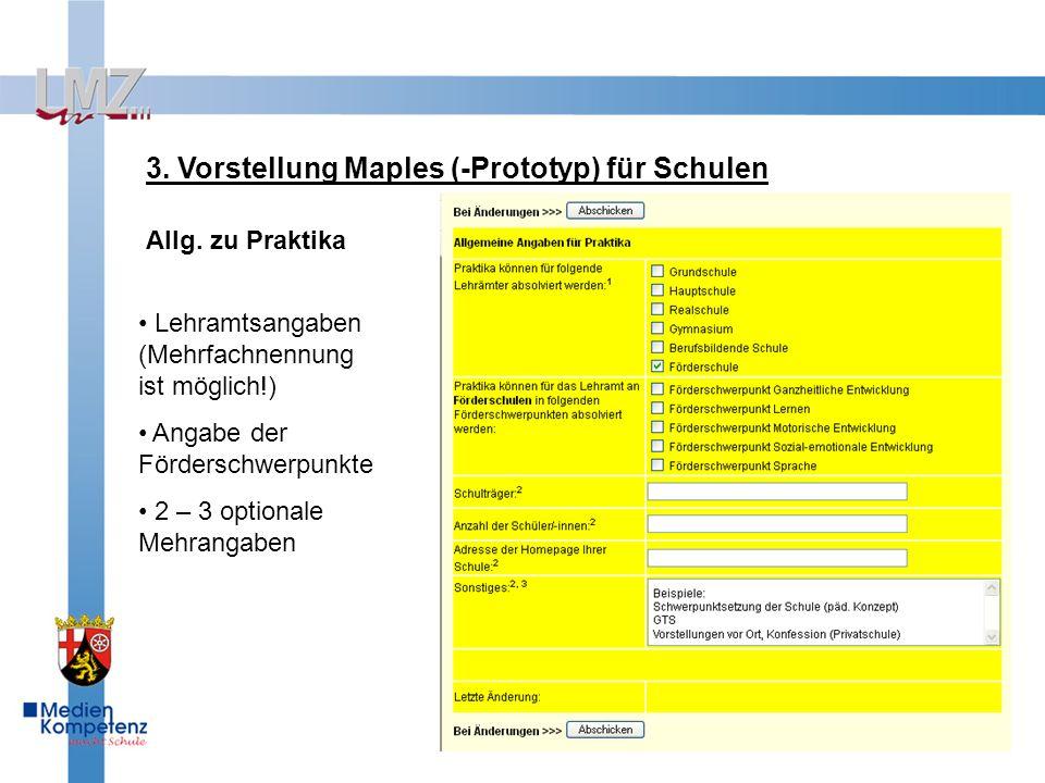 3. Vorstellung Maples (-Prototyp) für Schulen Allg.