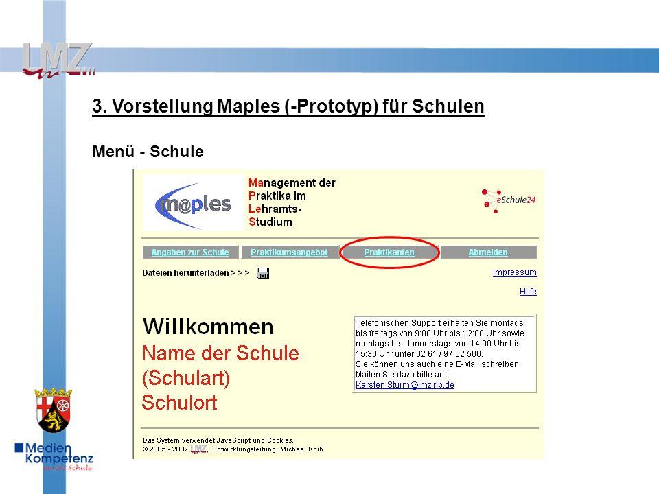 3. Vorstellung Maples (-Prototyp) für Schulen Menü - Schule