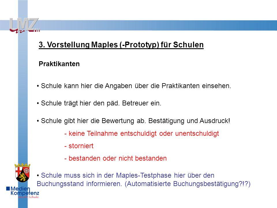 3. Vorstellung Maples (-Prototyp) für Schulen Praktikanten Schule kann hier die Angaben über die Praktikanten einsehen. Schule gibt hier die Bewertung