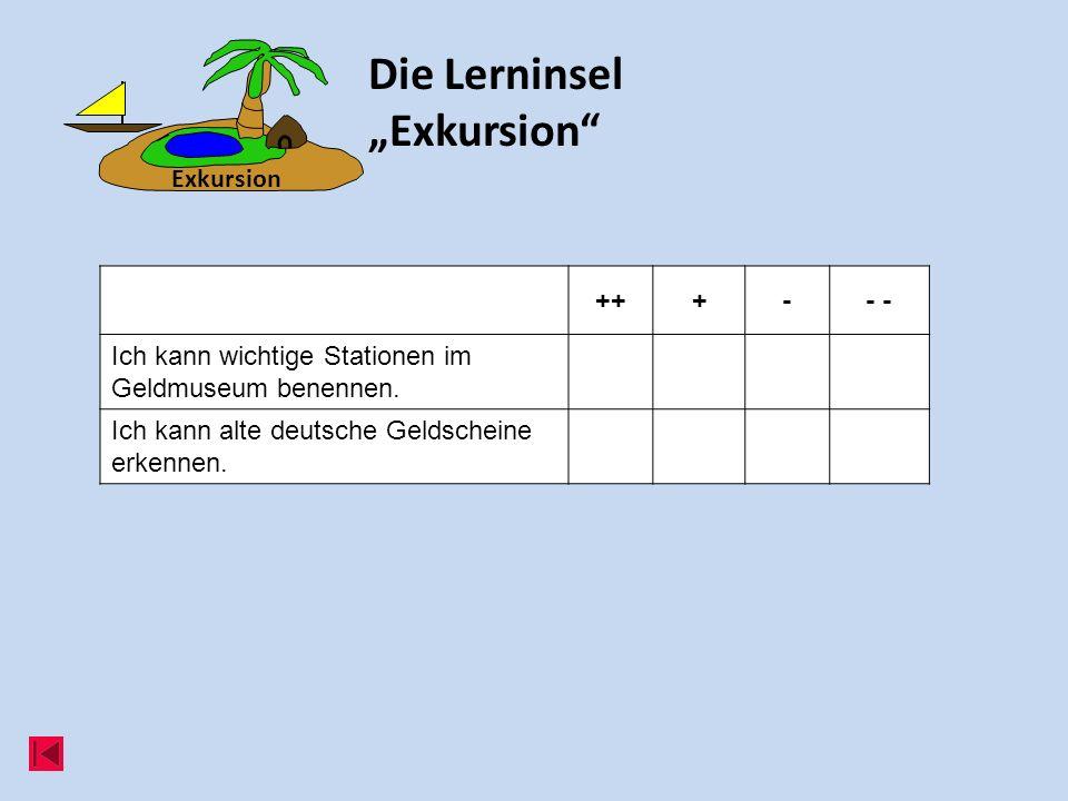Die Lerninsel Exkursion +++-- Ich kann wichtige Stationen im Geldmuseum benennen. Ich kann alte deutsche Geldscheine erkennen. Exkursion