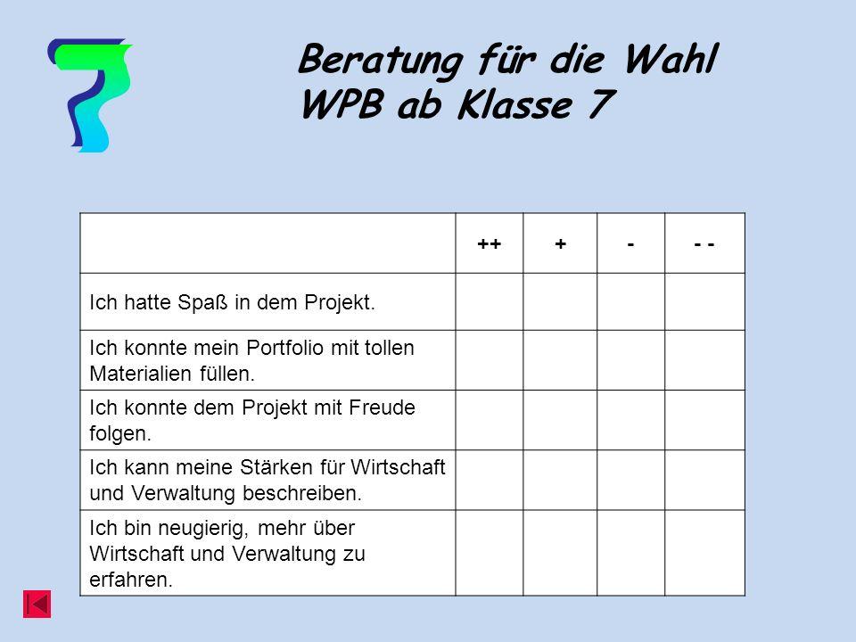 Beratung für die Wahl WPB ab Klasse 7 +++-- Ich hatte Spaß in dem Projekt.