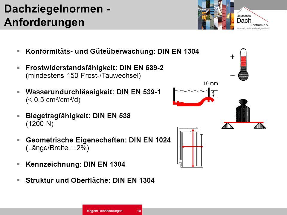Regeln Dachdeckungen 10 Dachziegelnormen - Anforderungen Konformitäts- und Güteüberwachung: DIN EN 1304 Frostwiderstandsfähigkeit: DIN EN 539-2 (minde