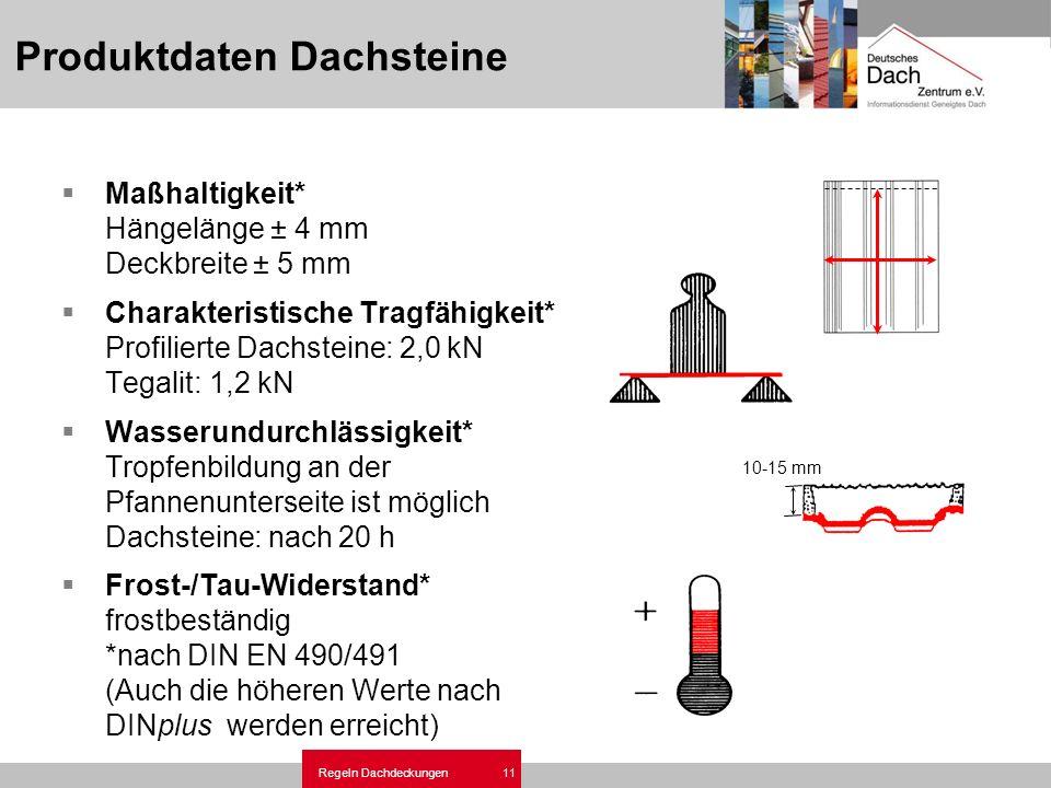 Regeln Dachdeckungen 11 Produktdaten Dachsteine Maßhaltigkeit* Hängelänge ± 4 mm Deckbreite ± 5 mm Charakteristische Tragfähigkeit* Profilierte Dachst
