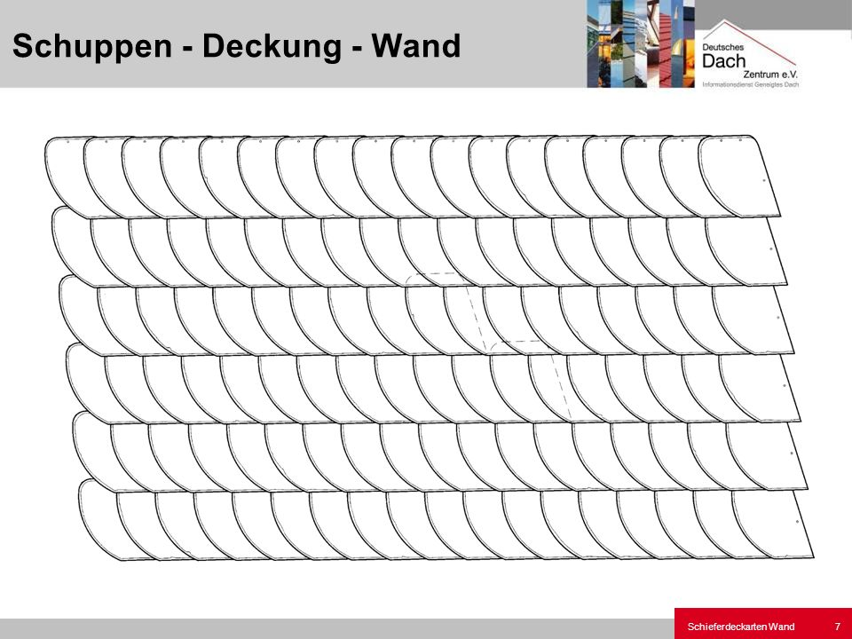Schieferdeckarten Wand8 Unterlegte Rechteck-Deckung