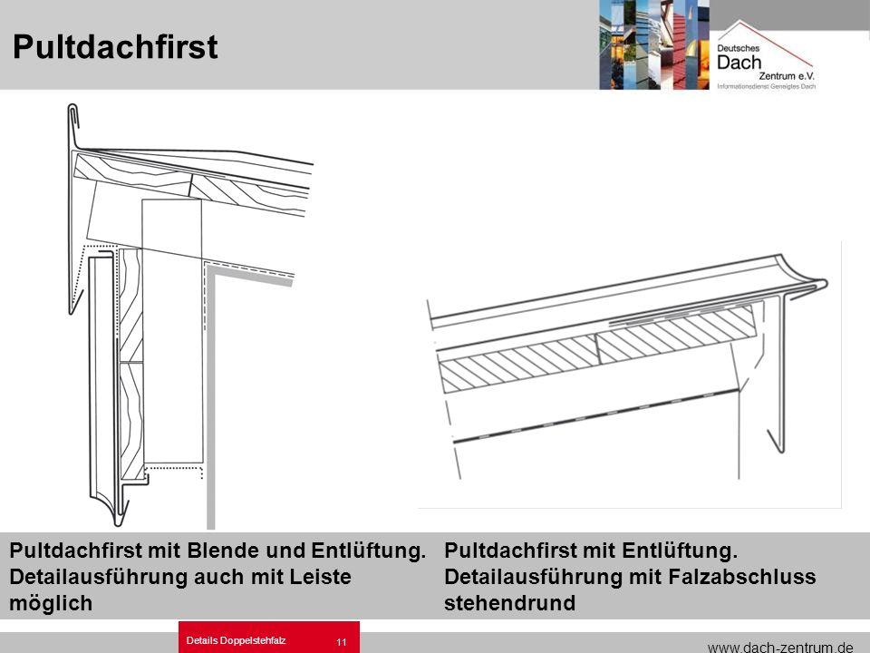 www.dach-zentrum.de Details Doppelstehfalz 11 Pultdachfirst Pultdachfirst mit Blende und Entlüftung. Detailausführung auch mit Leiste möglich Pultdach