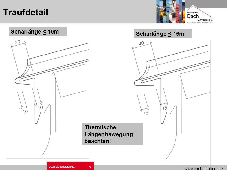 www.dach-zentrum.de Details Doppelstehfalz 3 Traufdetail Scharlänge < 10m Scharlänge < 16m Thermische Längenbewegung beachten!