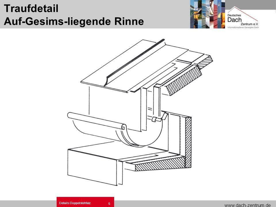 www.dach-zentrum.de Details Doppelstehfalz 5 Traufdetail Auf-Gesims-liegende Rinne