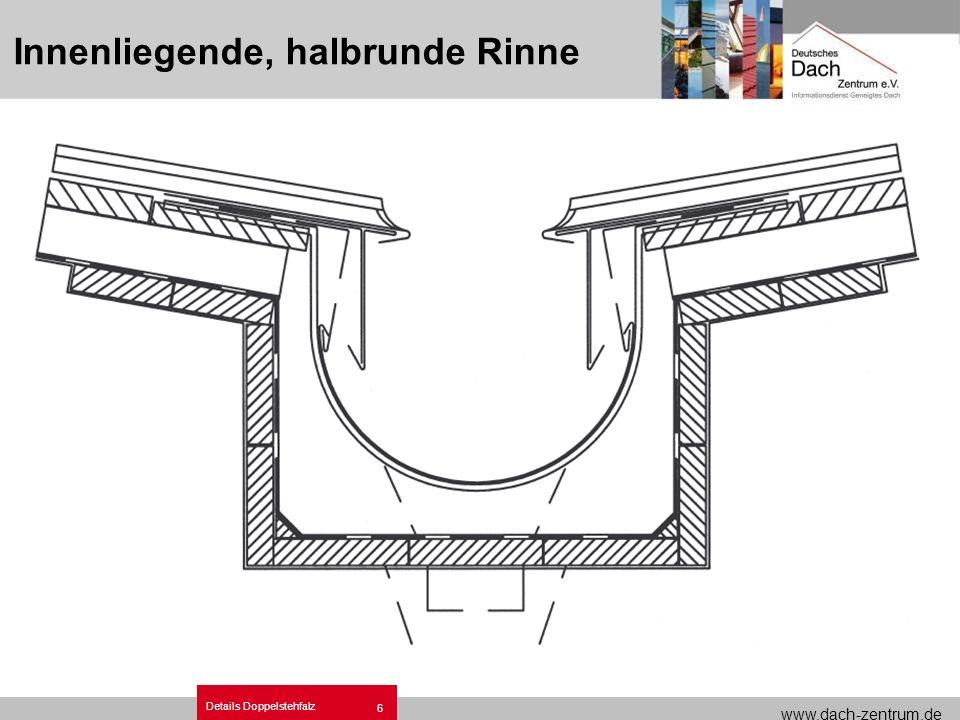 www.dach-zentrum.de Details Doppelstehfalz 6 Innenliegende, halbrunde Rinne