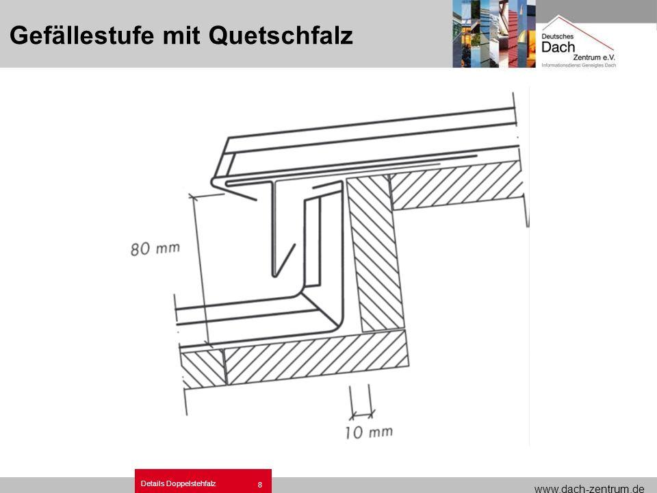 www.dach-zentrum.de Details Doppelstehfalz 8 Gefällestufe mit Quetschfalz