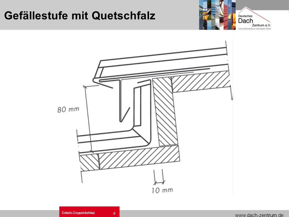 www.dach-zentrum.de Details Doppelstehfalz 9 Satteldachfirst