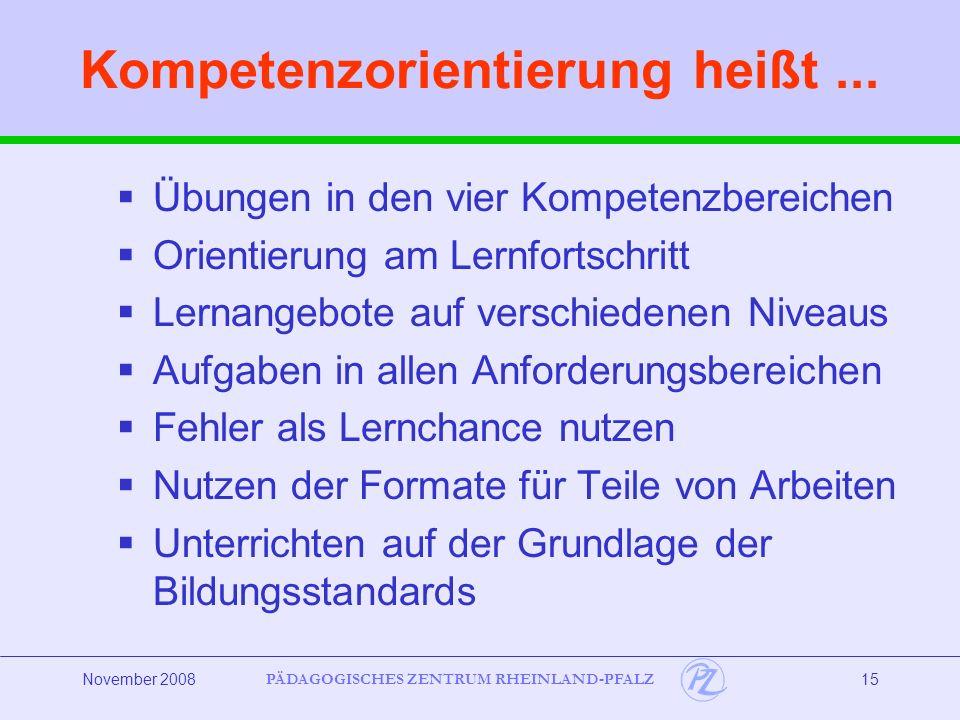 PÄDAGOGISCHES ZENTRUM RHEINLAND-PFALZ November 200815 Kompetenzorientierung heißt...
