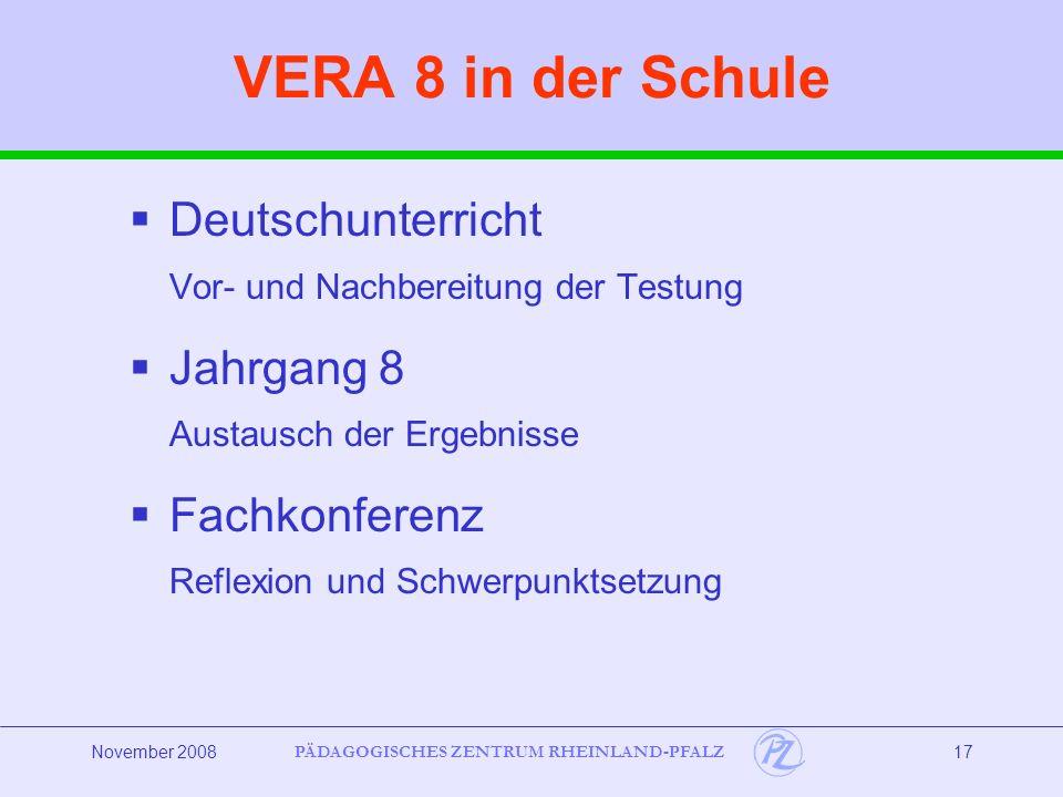 PÄDAGOGISCHES ZENTRUM RHEINLAND-PFALZ November 200817 VERA 8 in der Schule Deutschunterricht Vor- und Nachbereitung der Testung Jahrgang 8 Austausch der Ergebnisse Fachkonferenz Reflexion und Schwerpunktsetzung