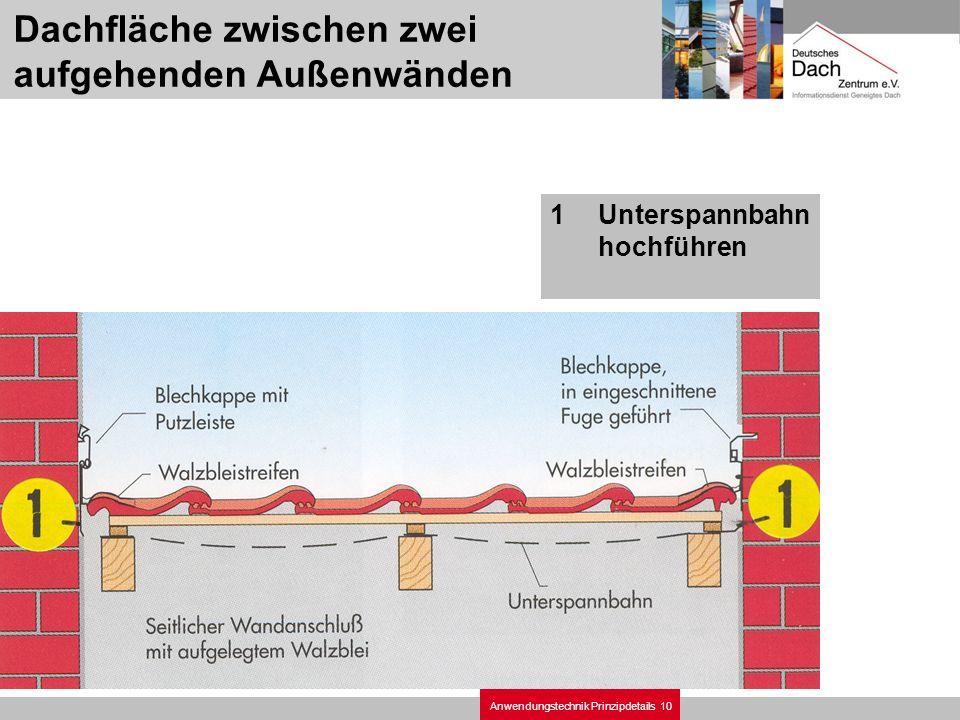 10Anwendungstechnik Prinzipdetails Dachfläche zwischen zwei aufgehenden Außenwänden 1Unterspannbahn hochführen