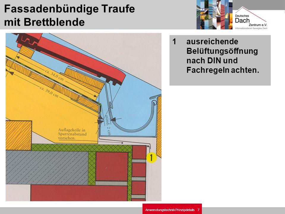 7Anwendungstechnik Prinzipdetails 1ausreichende Belüftungsöffnung nach DIN und Fachregeln achten. Fassadenbündige Traufe mit Brettblende
