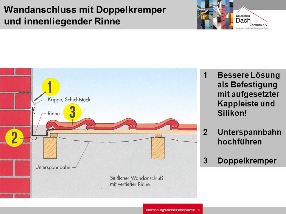 9Anwendungstechnik Prinzipdetails 1Bessere Lösung als Befestigung mit aufgesetzter Kappleiste und Silikon! 2Unterspannbahn hochführen 3Doppelkremper W