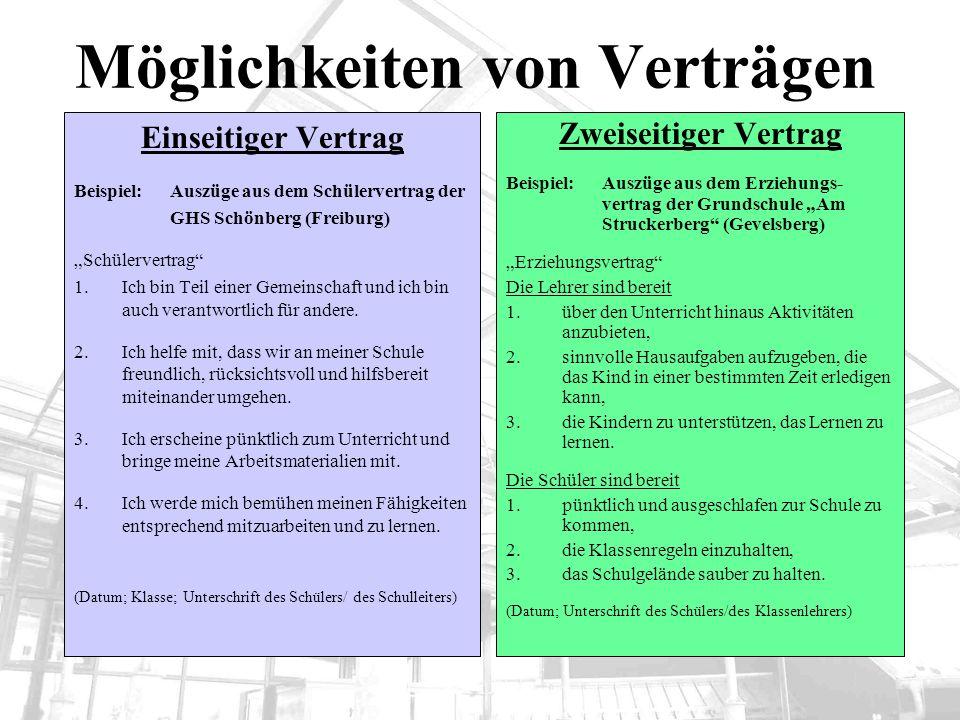 Möglichkeiten von Verträgen Einseitiger Vertrag Beispiel: Auszüge aus dem Schülervertrag der GHS Schönberg (Freiburg) Schülervertrag 1.Ich bin Teil ei