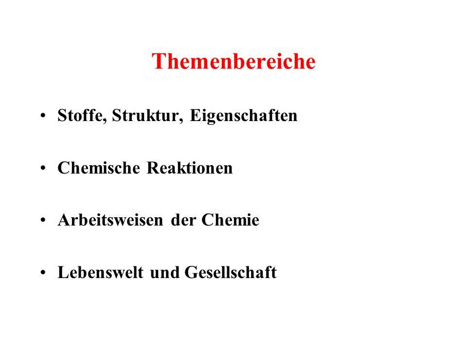 Themenbereiche Stoffe, Struktur, Eigenschaften Chemische Reaktionen Arbeitsweisen der Chemie Lebenswelt und Gesellschaft