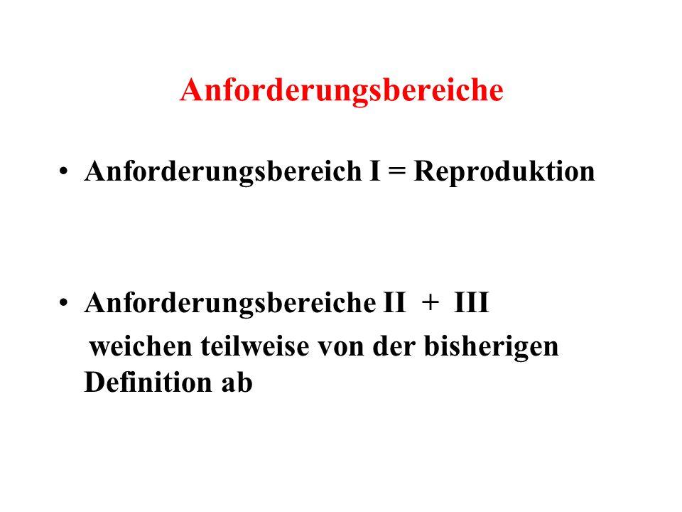 Anforderungsbereiche Anforderungsbereich I = Reproduktion Anforderungsbereiche II + III weichen teilweise von der bisherigen Definition ab