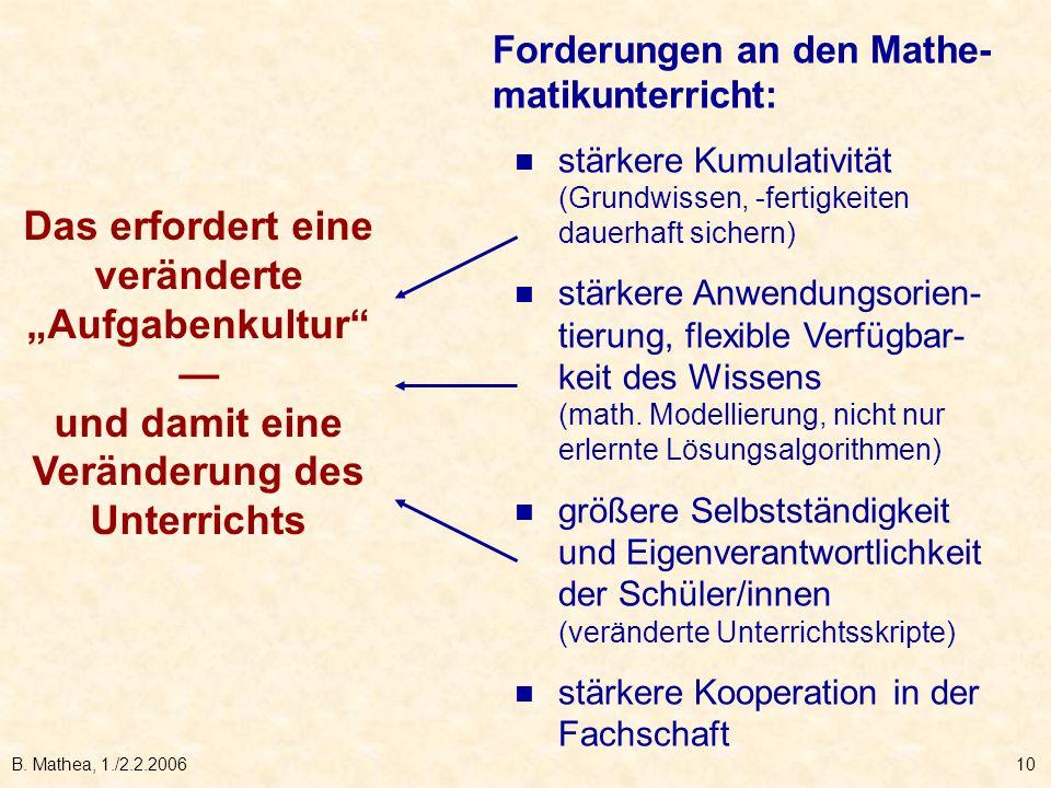 B. Mathea, 1./2.2.200610 Forderungen an den Mathe- matikunterricht: stärkere Kumulativität (Grundwissen, -fertigkeiten dauerhaft sichern) stärkere Anw