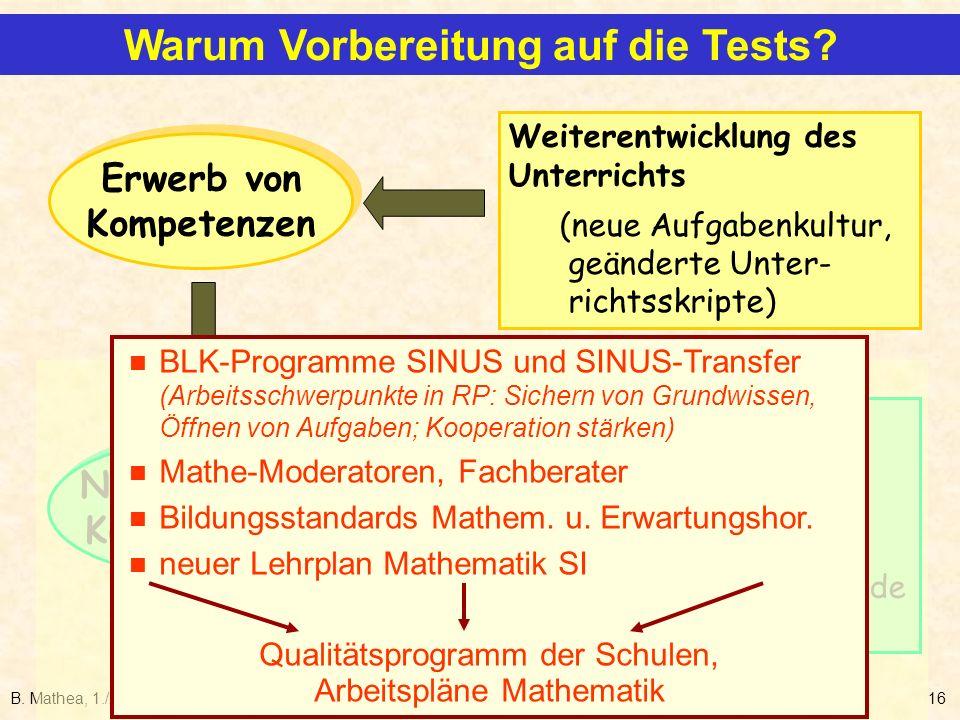B. Mathea, 1./2.2.200616 Erwerb von Kompetenzen Erwerb von Kompetenzen Nachweis von Kompetenzen Nachweis von Kompetenzen Weiterentwicklung des Unterri