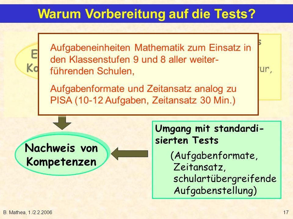 B. Mathea, 1./2.2.200617 Erwerb von Kompetenzen Erwerb von Kompetenzen Nachweis von Kompetenzen Nachweis von Kompetenzen Weiterentwicklung des Unterri
