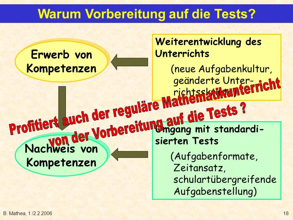 B. Mathea, 1./2.2.200618 Erwerb von Kompetenzen Erwerb von Kompetenzen Nachweis von Kompetenzen Nachweis von Kompetenzen Weiterentwicklung des Unterri