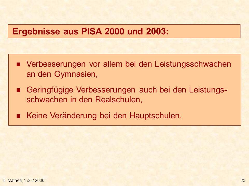 B. Mathea, 1./2.2.200623 Verbesserungen vor allem bei den Leistungsschwachen an den Gymnasien, Geringfügige Verbesserungen auch bei den Leistungs- sch