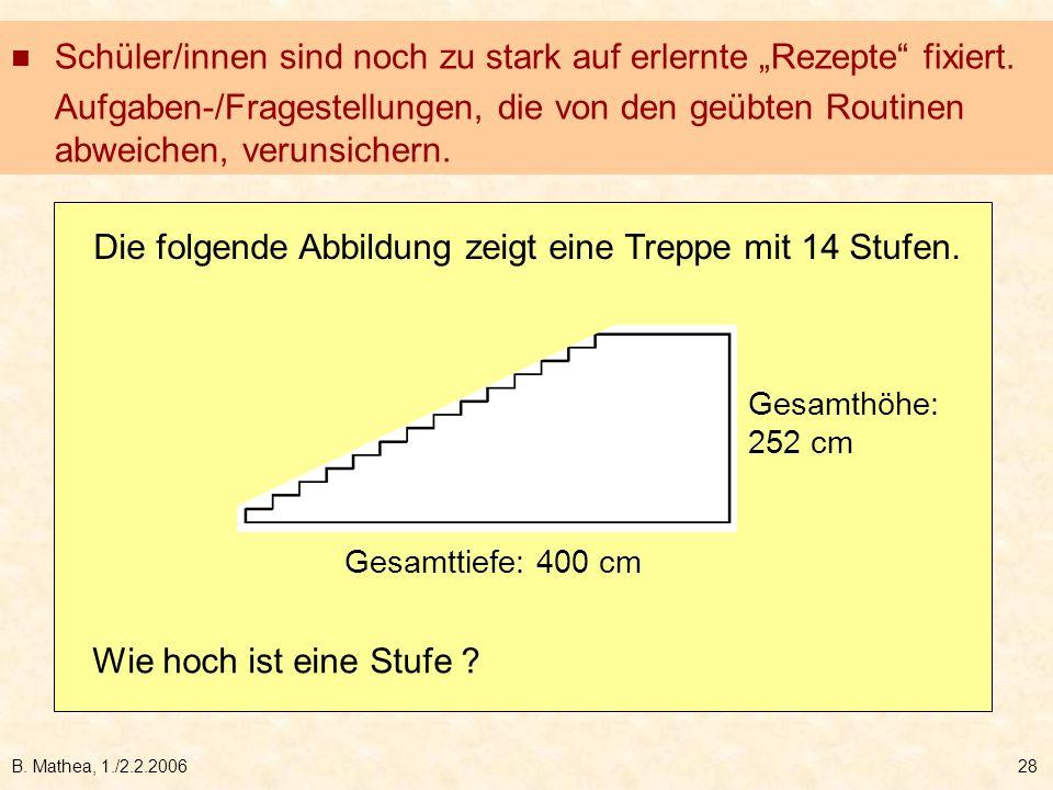 B. Mathea, 1./2.2.200628 Die folgende Abbildung zeigt eine Treppe mit 14 Stufen. Gesamthöhe: 252 cm Gesamttiefe: 400 cm Wie hoch ist eine Stufe ? Schü